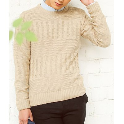 Гаджет   Stylish Round Neck Slimming Kink Solid Color Long Sleeve Cotton Blend Sweater For Men Sweaters & Cardigans