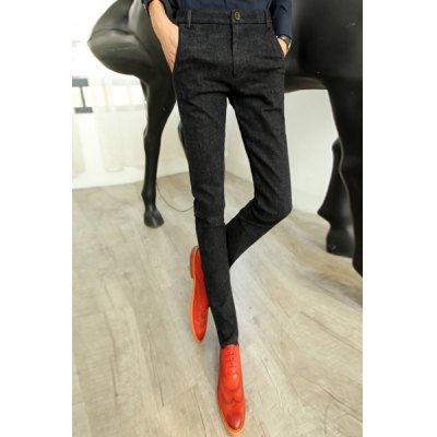Гаджет   Slimming Stylish Sutures Design Rib Splicing Narrow Feet Thicken Cotton Blend Pants For Men