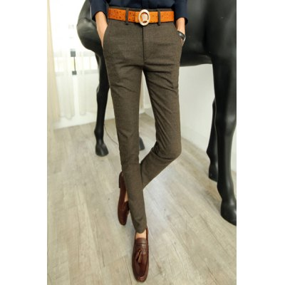 Slimming Stylish Solid Color Letter Design Narrow Feet Thicken Cotton Blend Pants For Men