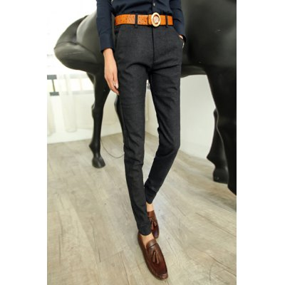 Гаджет   Slimming Stylish Solid Color Letter Design Narrow Feet Thicken Cotton Blend Pants For Men Pants