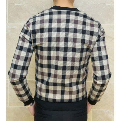 Гаджет   Stylish Stand Collar Slimming Checked Design Rib Splicing Long Sleeve Cotton Blend Jacket For Men Jackets & Coats