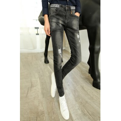 Гаджет   Slimming Stylish Destroy Wash Ethnic Geometric Splicing Narrow Feet Thicken Jeans For Men