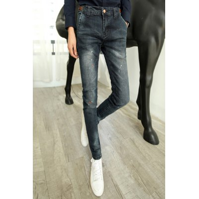 Гаджет   Slimming Stylish Paint Points PU Leather Design Narrow Feet Thicken Jeans For Men Pants