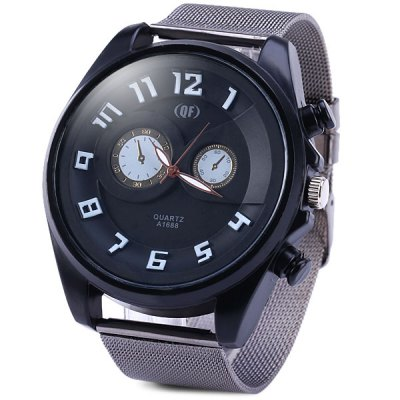 QF A1688 Male Quartz Watch with 3D Scale Steel Net Strap Round DialMens Watches<br>QF A1688 Male Quartz Watch with 3D Scale Steel Net Strap Round Dial<br><br>Watches categories: Male table<br>Watch style: Fashion<br>Available color: Black, White, Blue, Green<br>Movement type: Quartz watch<br>Shape of the dial: Round<br>Display type: Analog<br>Case material: Stainless steel<br>Band material: Steel<br>Clasp type: Pin buckle<br>Special features: Decorating small sub-dials<br>The dial thickness: 1.2 cm / 0.5 inches<br>The dial diameter: 5.0 cm / 2.0 inches<br>The band width: 2.4 cm / 0.9 inches<br>Product weight: 0.088 kg<br>Product size (L x W x H): 24.6 x 5.0 x 1.2 cm / 9.7 x 2.0 x 0.5 inches<br>Package Contents: 1 x Watch