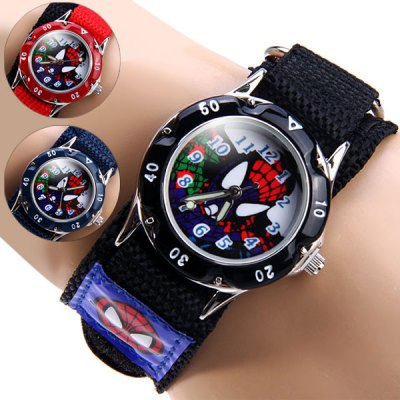 Kids Spider - man Quartz Watch Round Dial Velcro Nylon WristbandKids Watches<br>Kids Spider - man Quartz Watch Round Dial Velcro Nylon Wristband<br><br>Watches categories: Children watch<br>Watch style: Fashion<br>Available color: Black,Red,Blue<br>Movement type: Quartz watch<br>Shape of the dial: Round<br>Display type: Analog<br>Case material: Stainless Steel<br>Band material: The other<br>The dial thickness: 1.0 cm / 0.4 inches<br>The dial diameter: 3.2 cm / 1.3 inches<br>The band width: 2.3 cm / 1.9 inches<br>Product size (L x W x H): 18.50 x 3.20 x 1.00 cm / 7.28 x 1.26 x 0.39 inches<br>Package Contents: 1 x Watch