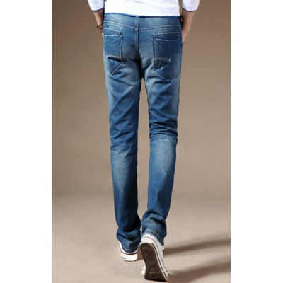 Гаджет   Slimming Stylish Metal Embellished Sutures Design Straight Leg Jeans For Men