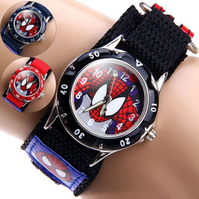 Spider Man Quartz Watch Round Dial Velcro Nylon Strap for ChildrenKids Watches<br>Spider Man Quartz Watch Round Dial Velcro Nylon Strap for Children<br><br>Watches categories: Children watch<br>Watch style: Fashion<br>Available color: Blue, Black, Red<br>Movement type: Quartz watch<br>Shape of the dial: Round<br>Display type: Analog<br>Case material: Stainless steel<br>Band material: The other<br>The dial thickness: 1.0 cm / 0.4 inches<br>The dial diameter: 3.2 cm / 1.3 inches<br>The band width: 2.3 cm / 1.9 inches<br>Product weight: 0.026 kg<br>Product size (L x W x H) : 18.5 x 3.2 x 1.0 cm / 7.3 x 1.3 x 0.4 inches<br>Package contents: 1 x Watch