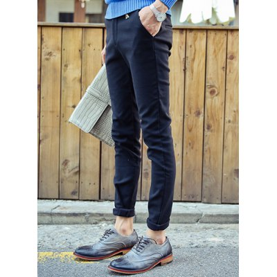 Гаджет   Slimming Stylish Solid Color Faux Jewel Embellished Narrow Feet Thicken Cotton Blend Pants For Men Pants