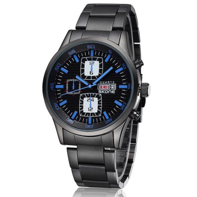 Гаджет   Skone 7336 Male Imported Quartz Watch Round Dial Alloy Strap with Day Week Function Men