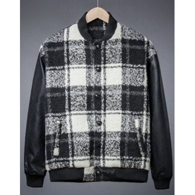 Гаджет   Stylish Stand Collar Slimming Checked Design PU Leather Splicing Long Sleeve Thicken Cotton Blend Coat For Men Jackets & Coats