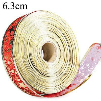 2M Golden Edge Red Riband Star Pattern Wire Xmas Decoration Printed Ribbon  -  6.3cm Wide