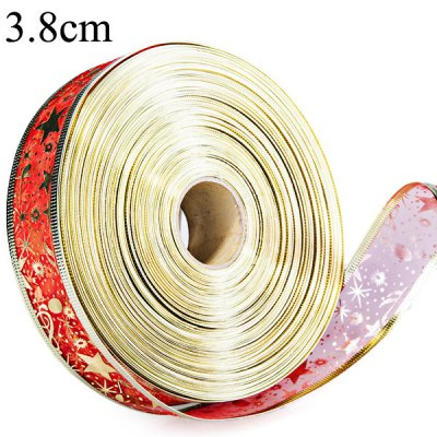 2M Golden Edge Red Riband Star Pattern Wire Xmas Decoration Printed Ribbon  -  3.8cm Wide