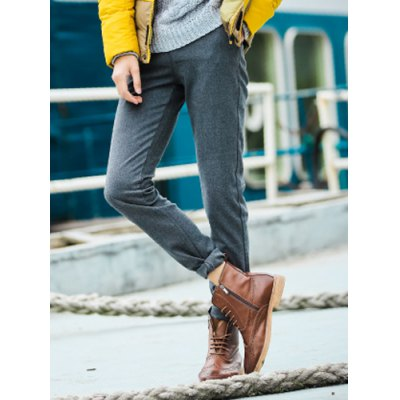 Гаджет   Simple Style Zipper Fly Button Embellished Solid Color Slimming Narrow Feet Men