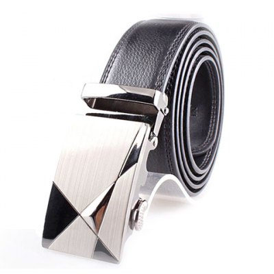 Chic Geometric Pattern Alloy Buckle Solid Color Belt For Men