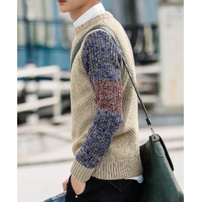 Гаджет   Slimming Round Neck Fashion Colour Mixture Long Sleeves Men