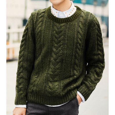 Гаджет   Laconic Solid Color Round Neck Knitting Jacquard Loose Fit Long Sleeves Men