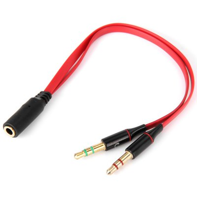 High Performance 3.5mm Female to Dual Male Earphone Mic Audio Y Converter Flat Cord