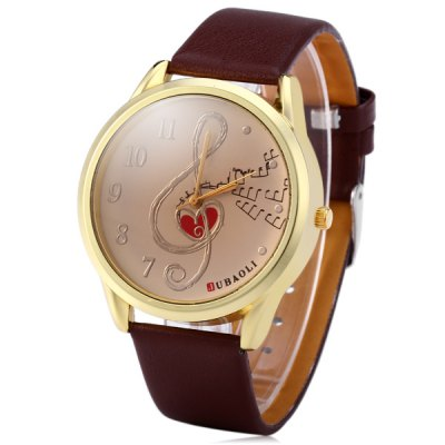 Гаджет   JUBAOLI 1001 Fashion Women Quartz Watch Round Dial with Music Notes Inside Leather Band Women
