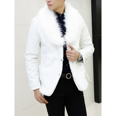 Гаджет   Stylish Turndown Collar Slimming Faux Fur Splicing Long Sleeve Thicken PU Leather Coat For Men Jackets & Coats