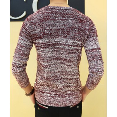 Гаджет   Laconic Knitting Jacquard Round Neck Ombre Design Long Sleeves Men