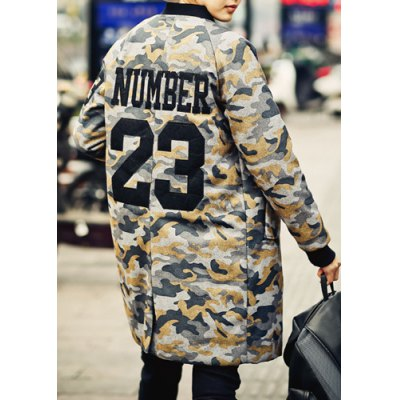 Гаджет   Stylish Stand Collar Slimming Camo Print Letter Design Long Sleeve Thicken Woolen Blend Trench Coat For Men Jackets & Coats