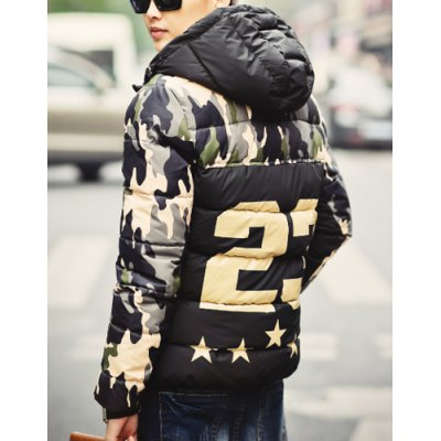 Гаджет   Stylish Hooded Slimming Letter Star Print Camo Splicing Long Sleeve Thicken Cotton Blend Coat For Men Jackets & Coats
