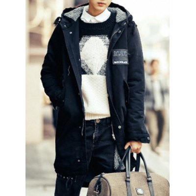 Гаджет   Trendy Hooded Slimming Back Abstract Skulls and Letters Print Long Sleeves Men