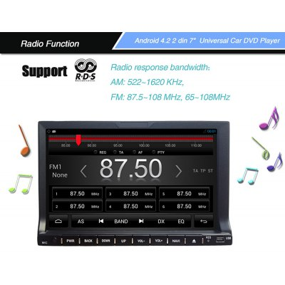 Гаджет   Rungrace - 202AGNR Android 4.2 7 inch Universal In - Dash Car DVD Player with AM / FM WiFi iPod GPS Function Car DVD Players
