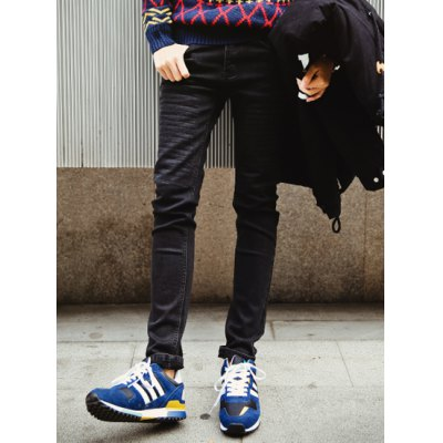 Гаджет   Slimming Stylish Solid Color Striped Sutures Design Narrow Feet Thicken Jeans For Men Pants