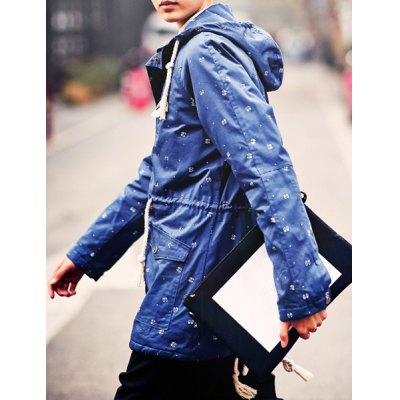 Гаджет   Fashionable Tiny Abstract Print Hooded Solid Color Belt Design Long Sleeves Men
