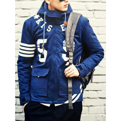 Гаджет   Slimming Hooded Letters and Number Print Solid Color Long Sleeves Men