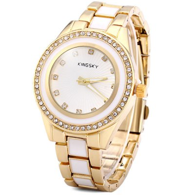 Kingsky Women Quartz Watch Analog Diamond Stainless Steel + Ceramic Band Round Dial