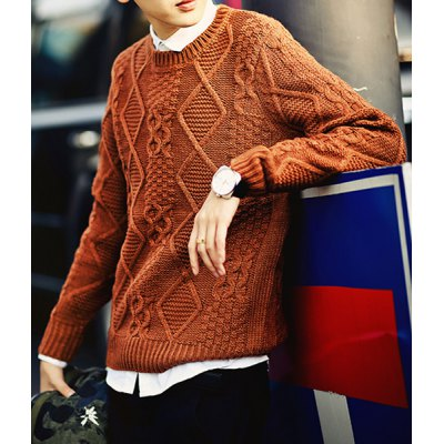 Гаджет   Stylish Round Neck Slimming Argyle Kink Design Solid Color Long Sleeve Cotton Blend Sweater For Men Sweaters & Cardigans