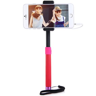 Гаджет   Fashionable Self - timer Stretch Camera Monopod with Clip Stand 20cm Audio Cable iPhone Selfie Monopod