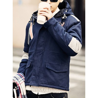 Гаджет   Stylish Hooded Slimming Zipper Design Color Splicing Long Sleeve Thicken Cotton Blend Coat For Men Jackets & Coats