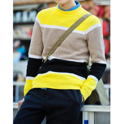 Гаджет   Stylish Round Neck Slimming Colorful Broad Stripes Splicing Long Sleeve Polyester Sweater For Men