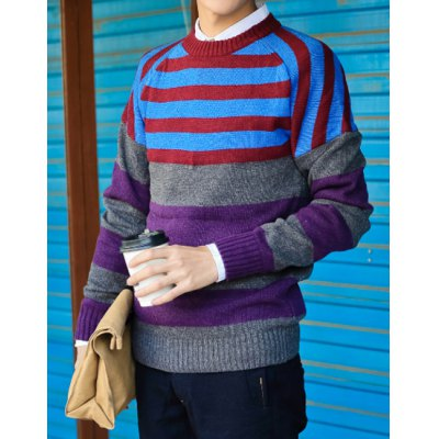 Гаджет   Stylish Round Neck Slimming Color Block Stripes Splicing Long Sleeve Polyester Sweater For Men Sweaters & Cardigans