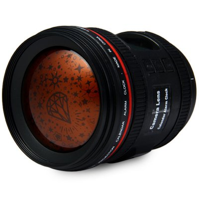 Camera Lens Alarm Clock Calendar with Music and Starry Sky Projection