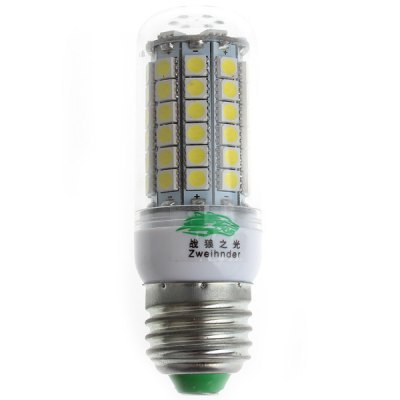4 x Zweihnder E27 7W 69 x 5050 SMD 3000  -  3500K 600Lm LEDs Warm White Corn LightLED Light Bulbs<br>4 x Zweihnder E27 7W 69 x 5050 SMD 3000  -  3500K 600Lm LEDs Warm White Corn Light<br><br>Brand : Zweihnder<br>Base Type: E27<br>Type: Corn Bulbs<br>Output Power: 7W<br>Emitter Type: SMD-5050 LED<br>Total Emitters: 69 LEDs<br>Actual Lumen(s): 600Lm<br>Voltage (V): AC 100-240V<br>Appearance: Transparent Shade<br>Features: Low Power Consumption, Long Life Expectancy, Energy Saving<br>Function: Home Lighting, Commercial Lighting, Studio and Exhibition Lighting<br>Available Light Color: Warm White, Cold White<br>Sheathing Material: PC<br>Product Weight: 0.152 kg<br>Package Weight: 0.18 kg<br>Product Size (L x W x H): 9.5 x 3.1 x 3.1 cm / 3.74 x 1.22 x 1.22 inches<br>Package Size (L x W x H): 11 x 3.6 x 3.6 cm<br>Package Contents: 4 x Zweihnder E27 7W 69 SMD-5050 600Lm Transparent Candle Bulb