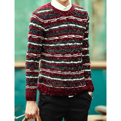 Гаджет   Stylish Round Neck Slimming Colorful Stripes Spots Design Long Sleeve Polyester Sweater For Men Sweaters & Cardigans