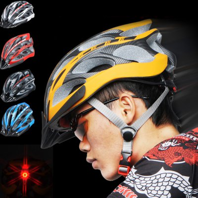Cool Bicycle Helmet Unibody Integrated Cycling Hat with 6 LEDs Light Lamp