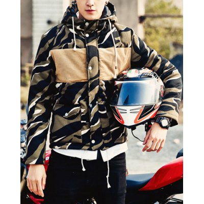 Гаджет   Stylish Hooded Slimming Color Block Zebra Print Splicing Long Sleeve Thicken Cotton Blend Coat For Men Jackets & Coats