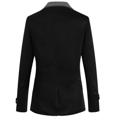 ФОТО Trendy Turn-down Collar Inclined Zipper Fly Slimming Color Splicing Long Sleeves Men