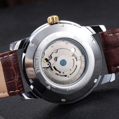 ФОТО Tevise 8122S Date Week Display Automatic Mechanical Male Watch Leather Band Round Dial