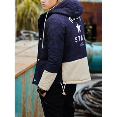 Гаджет   Stylish Hooded Slimming Multi-Pocket Letter Print Color Splicing Long Sleeve Thicken Cotton Blend Coat For Men Jackets & Coats