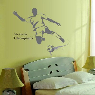 Гаджет   Innovative Reusable 3D PVC Football Player Wall Stickers Removable Decor Mural Children Bedroom Ornament Home Decor