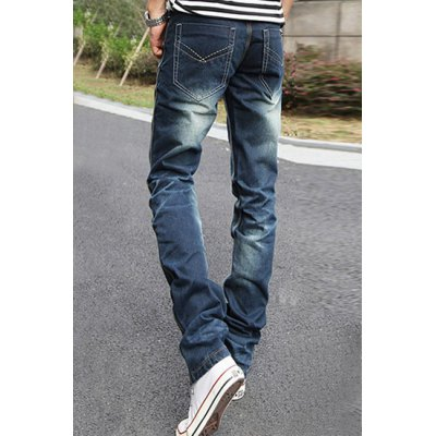 Гаджет   Slimming Stylish Pockets and Sutures Design Straight Leg Thicken Jeans For Men Pants