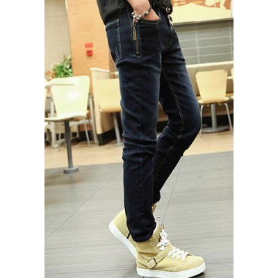 Гаджет   Slimming Stylish Zipper Design Fabric Splicing Straight Leg Thicken Jeans For Men Pants