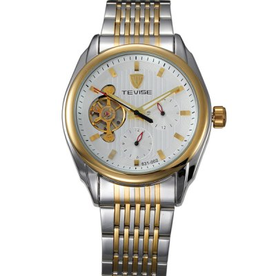 ФОТО Tevise 631 - 002 Automatic Mechanical Watch Tourbillon Analog Round Dial Fine Steel Body for Men