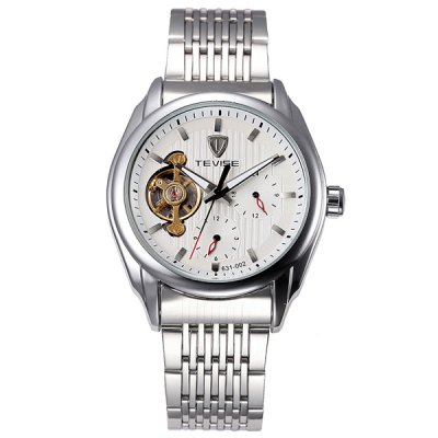 Tevise 631 - 002 Automatic Mechanical Watch Tourbillon Analog Round Dial Fine Steel Body for Men